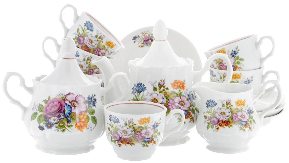 """Сервиз чайный """"Романс. Букет цветов"""", 15 предметов"""