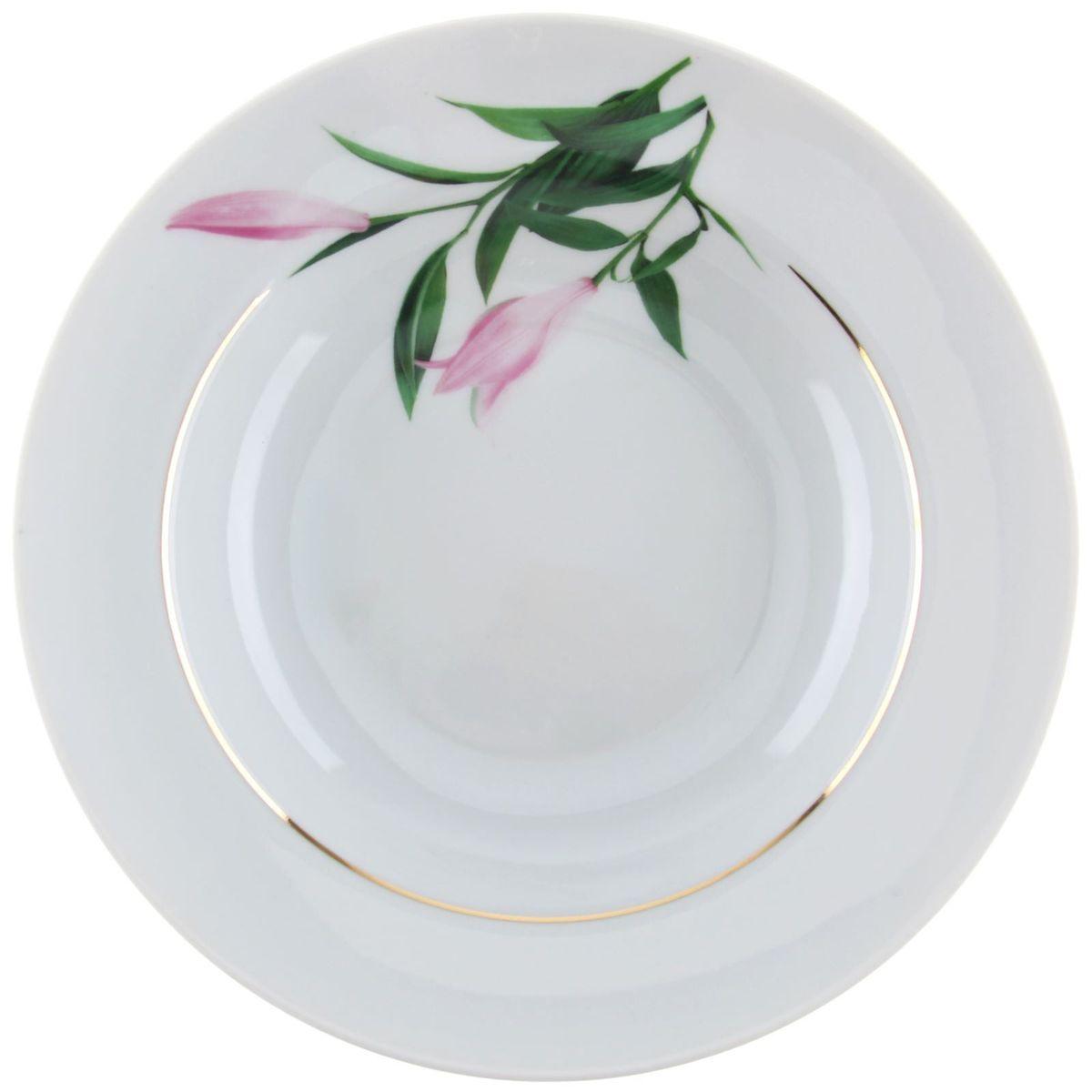 Тарелка глубокая Идиллия. Бутон, диаметр 24 см тарелка мелкая идиллия ромашка диаметр 20 см 5с0189