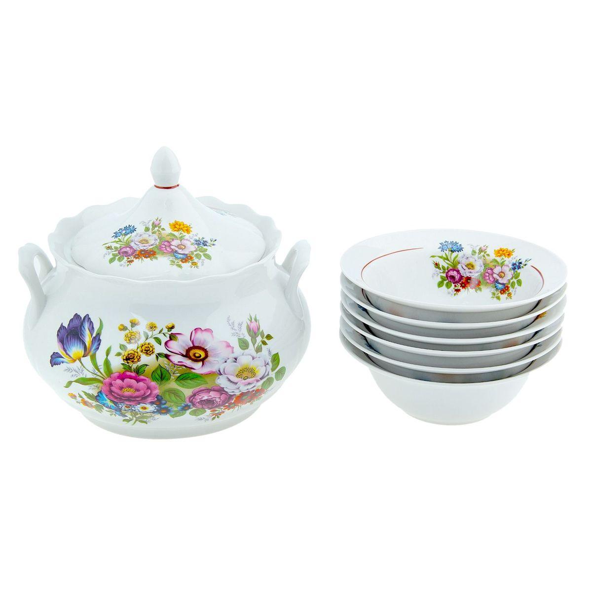 Набор для пельменей Романс. Букет цветов, 7 предметов набор пластиковых мисок для супа celesta festival цвет белый 500 мл 12 шт