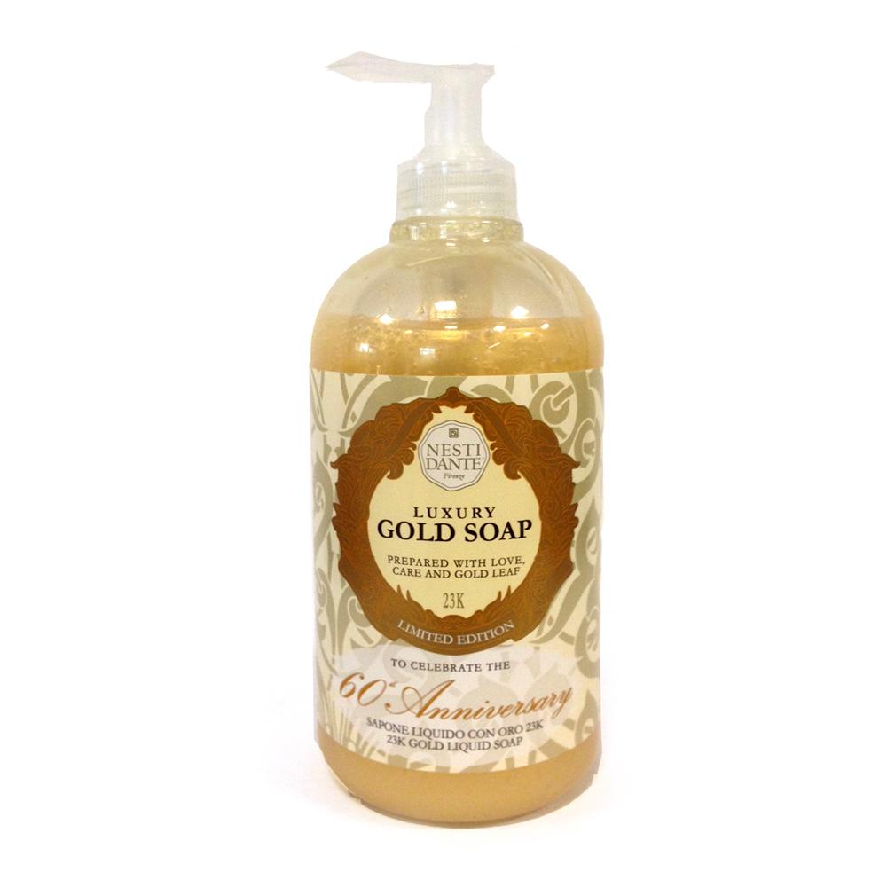 Nesti Dante Жидкое мыло Anniversary Gold Soap-Юбилейное золотое 500 мл5050106Nesti Dante отметили свой 60-летний юбилей с королевским размахом, изготовив ограниченный тираж золотого жидкого мыла. Содержащиеся в мыле золотые частицы обладают уникальным комплексом свойств: доставляет в глубокие слои эпидермиса питательные и увлажняющие компоненты, стимулируют обменные процессы, восстанавливают и укрепляют клетки кожи. Кроме того, золото обладает выраженным противовоспалительным и матирующим эффектом.
