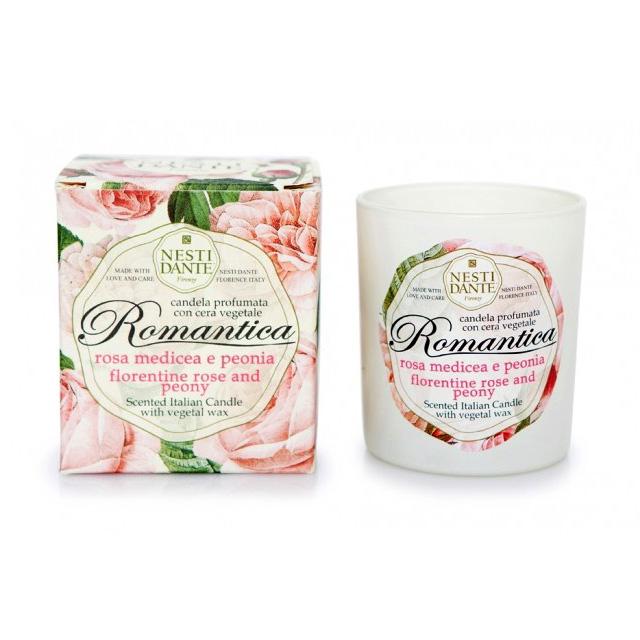 Nesti Dante Свеча Romantica. Роза и пион, ароматизированная, 160 г свеча унисекс nesti dante wild tuscan lavender