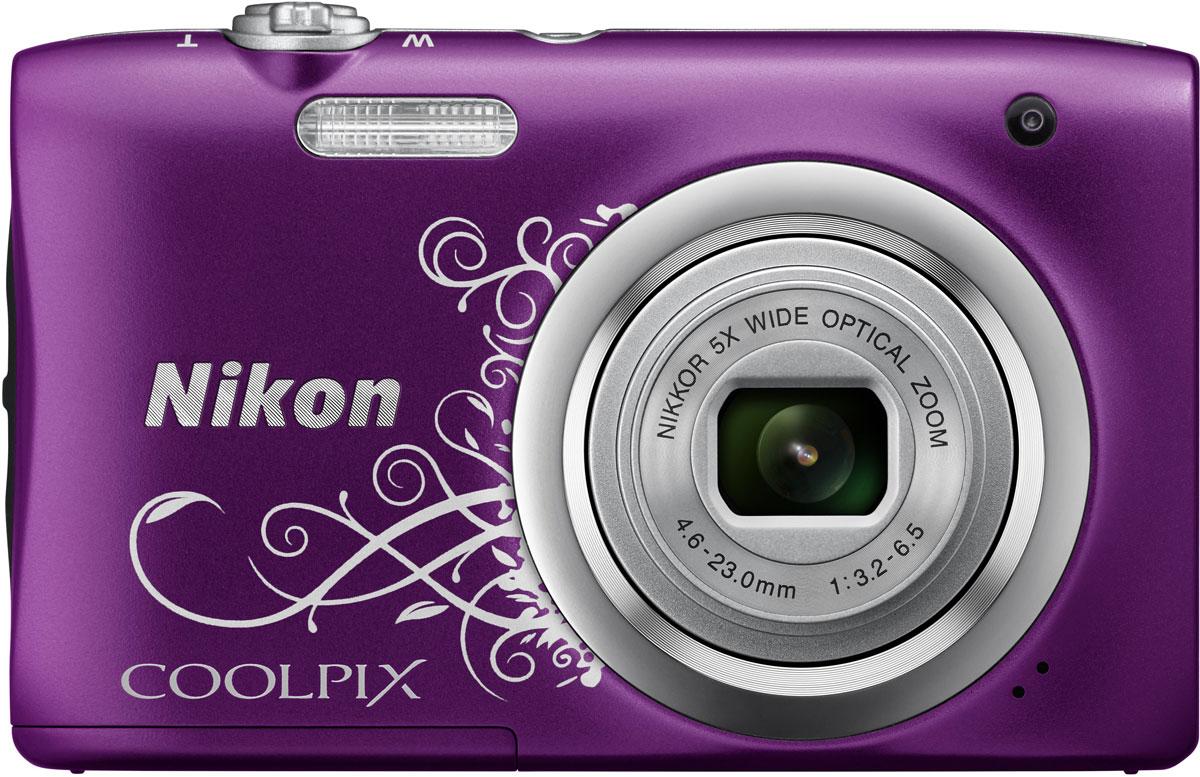 Компактный фотоаппарат Nikon CoolPix A100, Purple Line Art