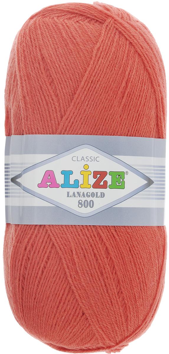 """Пряжа для вязания Alize """"Lanagold 800"""", цвет: коралловый (154), 800 м, 100 г, 5 шт"""