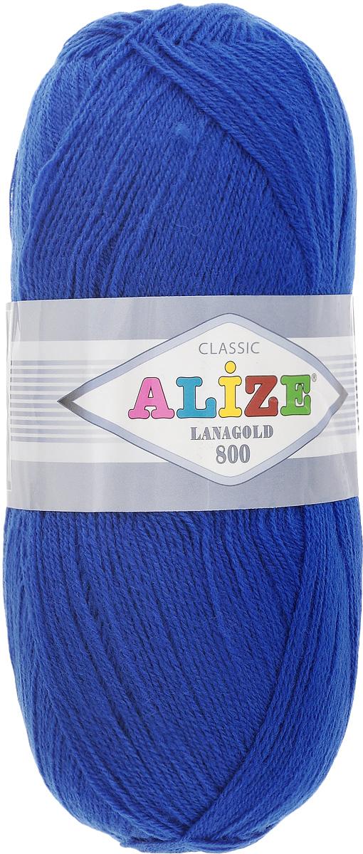 """Пряжа для вязания Alize """"Lanagold 800"""", цвет: синий (141), 800 м, 100 г, 5 шт"""