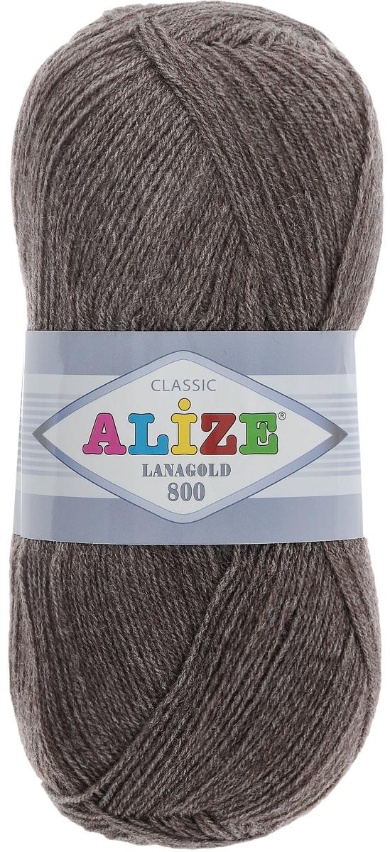 """Пряжа для вязания Alize """"Lanagold 800"""", цвет: серо-коричневый (240), 800 м, 100 г, 5 шт"""