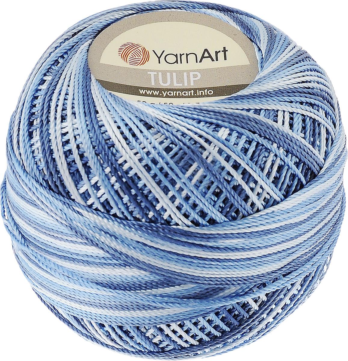 Пряжа для вязания YarnArt Tulip, цвет: синий, голубой, белый (456), 250 м, 50 г, 6 шт372017_456Пряжа для вязания YarnArt Tulip (Ирис) изготовлена из 100% микрофибры. Пряжа приятная на ощупь, легкая, тонкая и упругая. Хорошо смотрится практически в любых узорах, не косит, послушно ложится в узоры и спицами, и крючком. Ниточка блестящая и такими же блестящими получаются изделия из нее. Нить удобна и практична тем, что хорошо смотрится как в объемных рельефных узорах, так и в самой простой чулочной вязке. Пряжа Tulip - классический вариант демисезонной пряжи, идеальна для создания летней одежды, купальников, аксессуаров, бижутерии, салфеток, ирландского кружева, жгутов и т.д. Нежная текстура ниток подходит для создания одежды детям. Изделия получаются легкими, не деформируются и не вытягиваются ни при вязании, ни при последующей носке. Микрофибра гипоаллергенна, поэтому вязаные вещи подходят даже для чувствительной кожи. Богатая цветовая гамма однотонных и меланжевых расцветок порадует рукодельниц и удовлетворит даже самых взыскательных модниц. Нить очень тонкая, поэтому для работы с ней нужна определенная сноровка и строгое соответствие номера крючка или спиц. Рекомендуемый размер крючка и спиц 2,5 мм. Состав: 100% микрофибра. Толщина нити: 1 мм. Комплектация: 6 шт. Рекомендуем!