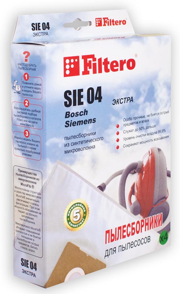 Filtero SIE 04 Экстра мешок-пылесборник для Bosch и Siemens, 4 шт пылесборники filtero sie 05 экстра пятислойные 3 шт для пылесосов siemens bosch