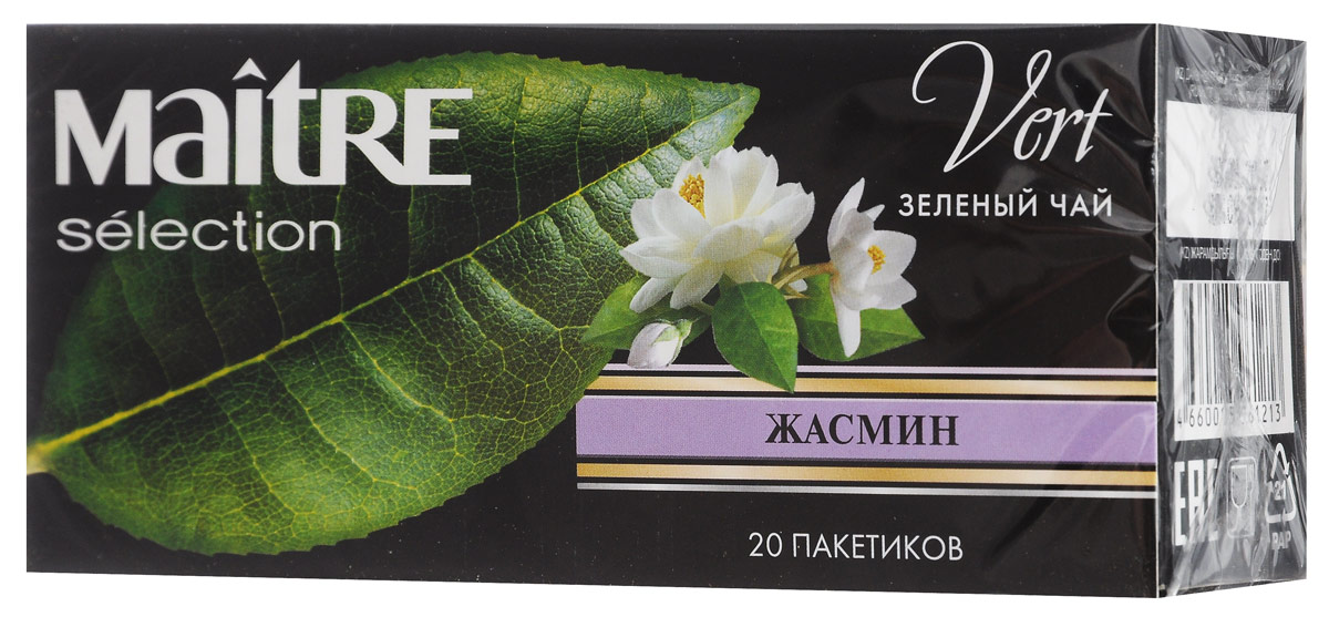 Maitre Жасмин зеленый чай в пакетиках, 20 шт