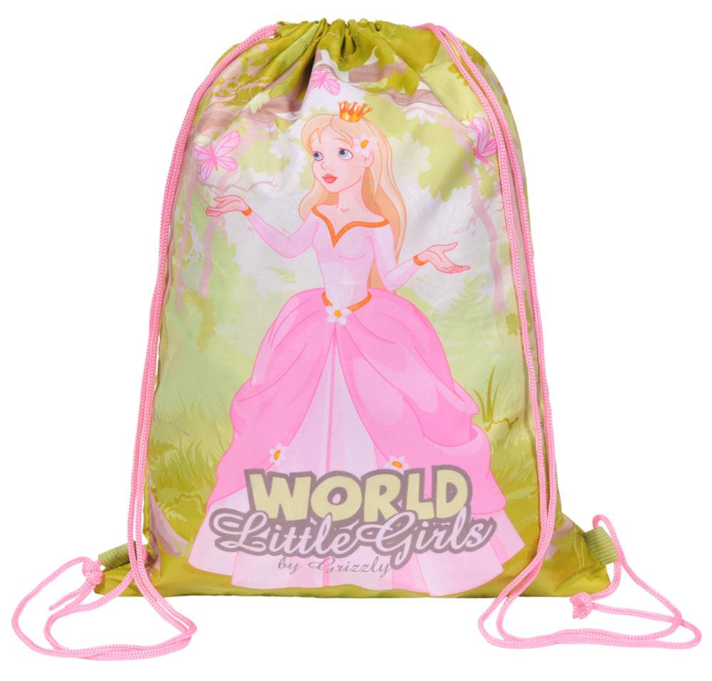 Grizzly Мешок для обуви World Little Girls цвет розовый зеленый мешок для обуви t rex world