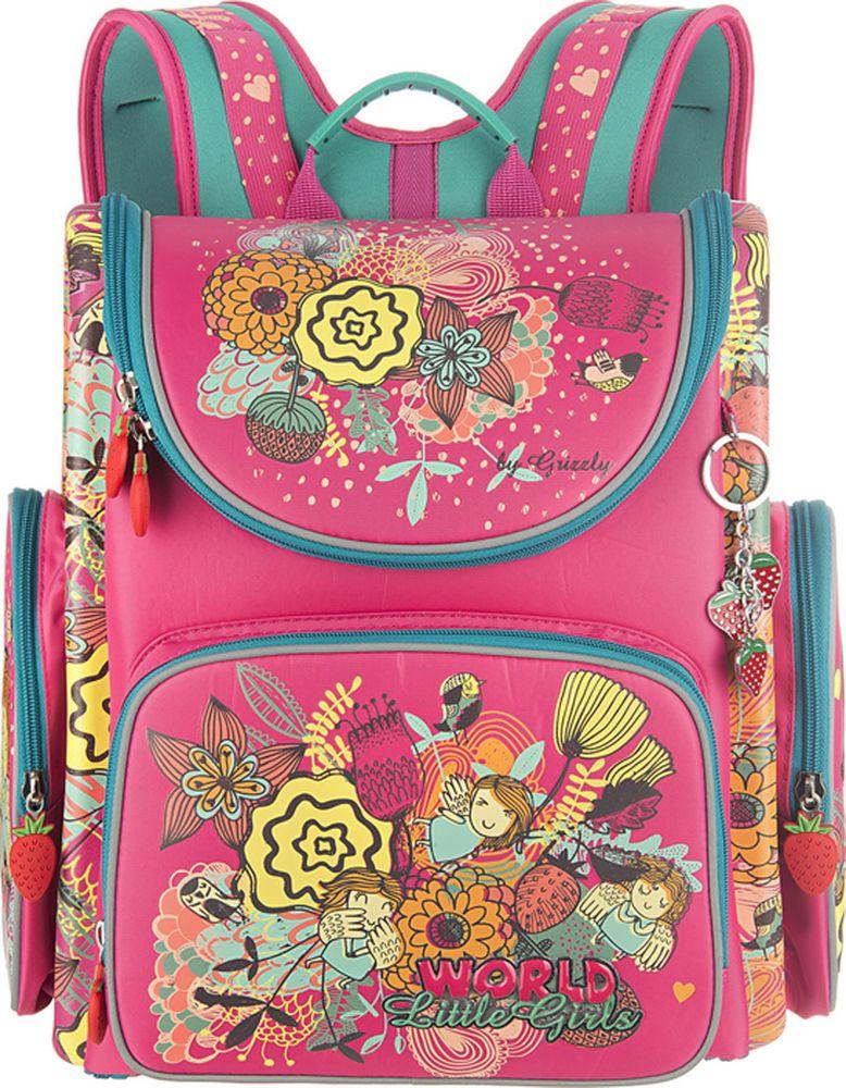 все цены на Grizzly Рюкзак школьный с мешком для обуви цвет жимолость мята онлайн