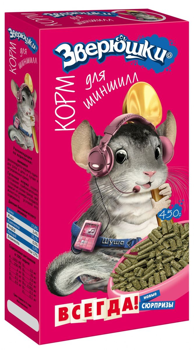 Корм для шиншилл Зверюшки, 450 г лакомство для кроликов зверюшки корзиночки луговые травы и кукуруза 40 г 2 шт