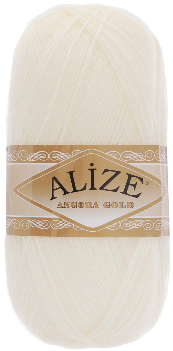 """Пряжа для вязания Alize """"Angora Gold"""", цвет: молочный (62), 550 м, 100 г, 5 шт"""