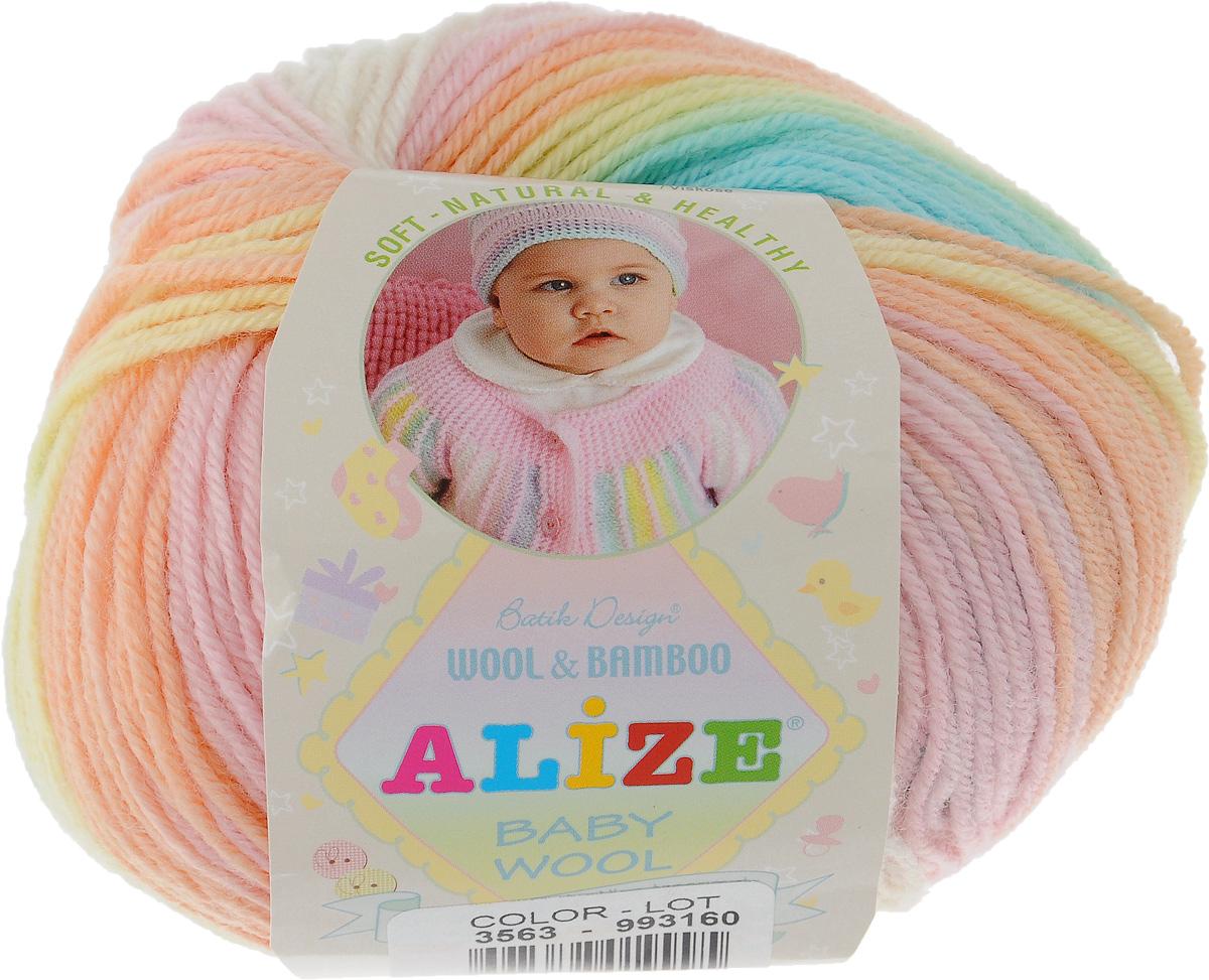 Пряжа для вязания Alize Baby Wool Batik Design, цвет: голубой, зеленый, желтый (3563), 175 м, 50 г, 10 шт372104_3563Пряжа Alize Baby Wool Batik Design - это пряжа для ручного вязания детям, состоящая из 40% шерсти, 40% акрила и 20% бамбука. Классическая пряжа, мягкая и шелковистая на ощупь, секционного крашения с длинными переходами цветов. Рекомендуемый размер спиц: № 2,5-4 мм. Рекомендуемый размер крючка: № 1-3 мм. Состав: 40% шерсть, 40% акрил, 20% бамбук.