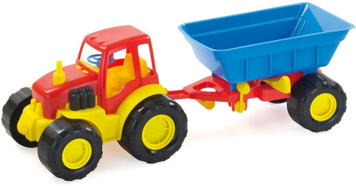 Zebratoys Трактор с прицепом цвет красный синий smoby 710108 трактор педальный xl с прицепом красный