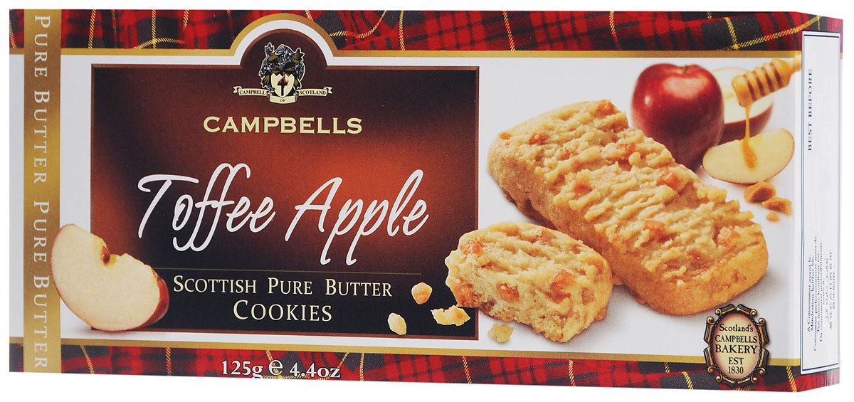 Campbells Pure Butter печенье песочное с кусочками яблочка и карамели, 125 г