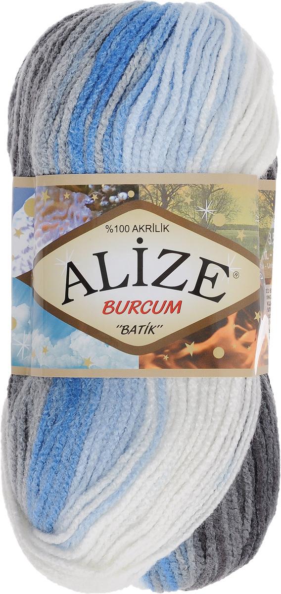 """Пряжа для вязания Alize """"Burсum Batik"""", цвет: белый, голубой, черный (4200), 210 м, 100 г, 5 шт"""