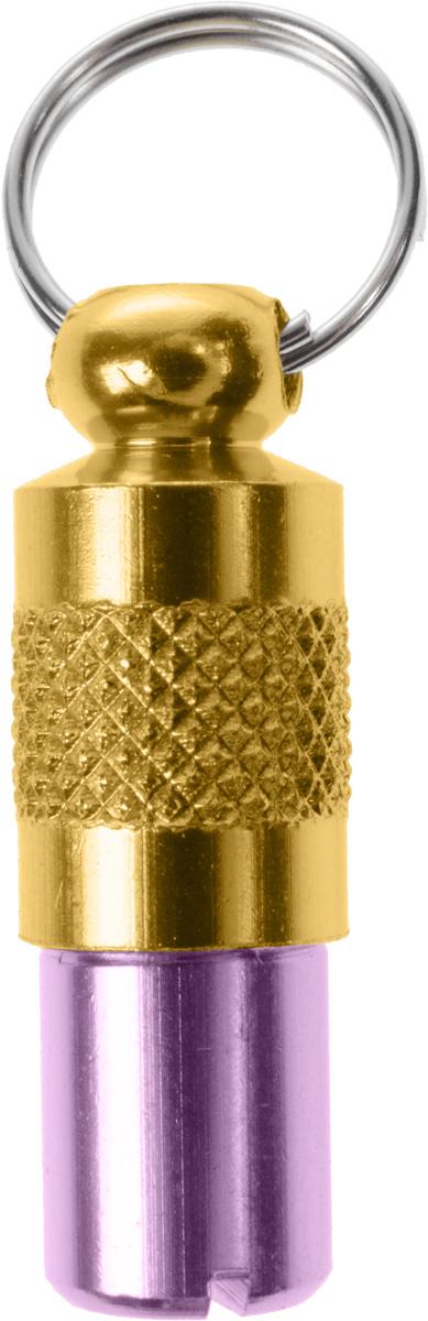"""Адресник-капсула """"Vila"""", цвет: фиолетовый, золотой, 2,7 х 1 х 1 см"""