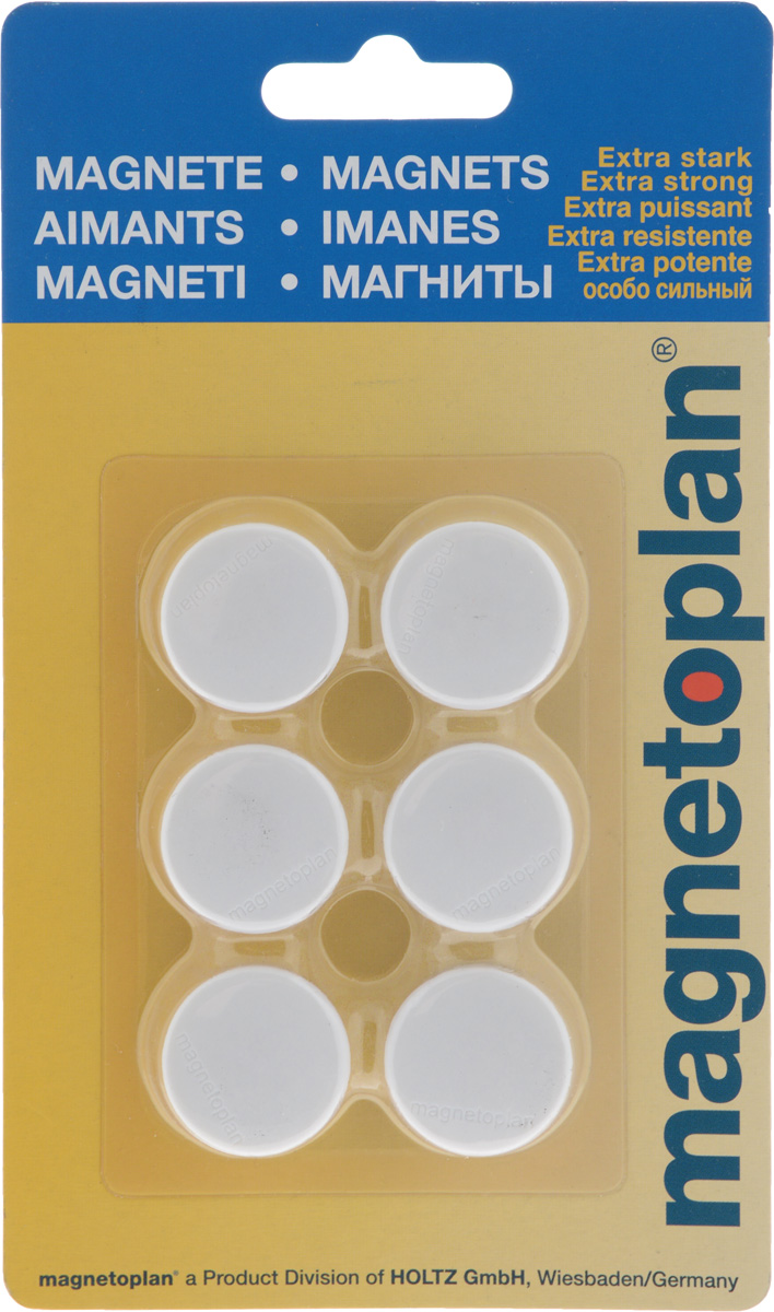 Магниты Magnetoplan, цвет: белый, 6 шт Magnetoplan
