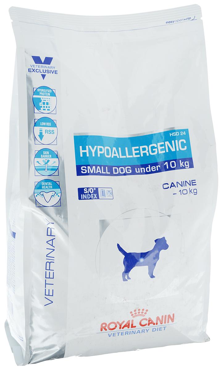 Корм сухой диетический Royal Canin Hypoallergenic HSD 24 для собак весом от 1 до 10 кг, при пищевой аллергии или непереносимости, 3,5 кг корм сухой royal canin vet sensitivity control sc21 для собак при пищевой аллергии или непереносимости с уткой 1 5 кг