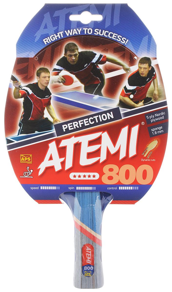 Ракетка для настольного тенниса Atemi Perfection 800, цвет: красный, черный плавки atemi вв 8 1 детские для бассейна пайпинг черные