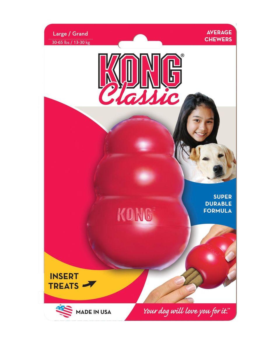 Игрушка для собак Kong Classic, большая, 10 х 6 смT1Игрушка выполненная из каучука предназначена для собак крупных пород весом 20 -35 кг. Великолепные пружинистые свойства и красная натуральная резина отлично подходят для собак с сильными челюстями. Оригинальная форма игрушки позволяет наполнить ее лакомством, которое собака достает в процессе игры. Ветеринарные врачи и тренеры рекомендуют использование игрушек KONG, наполненных лакомствами, для поддержания хорошего настроения питомца и предотвращения нежелательного поведения. Рекомендуем!