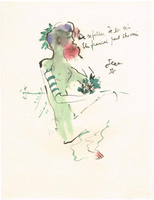 Вакханка. Литография. Жан Кокто. Vins, Fleurs et Flammes. Japon Imperial. Издатель Bernard Klein, Париж, 1953 год