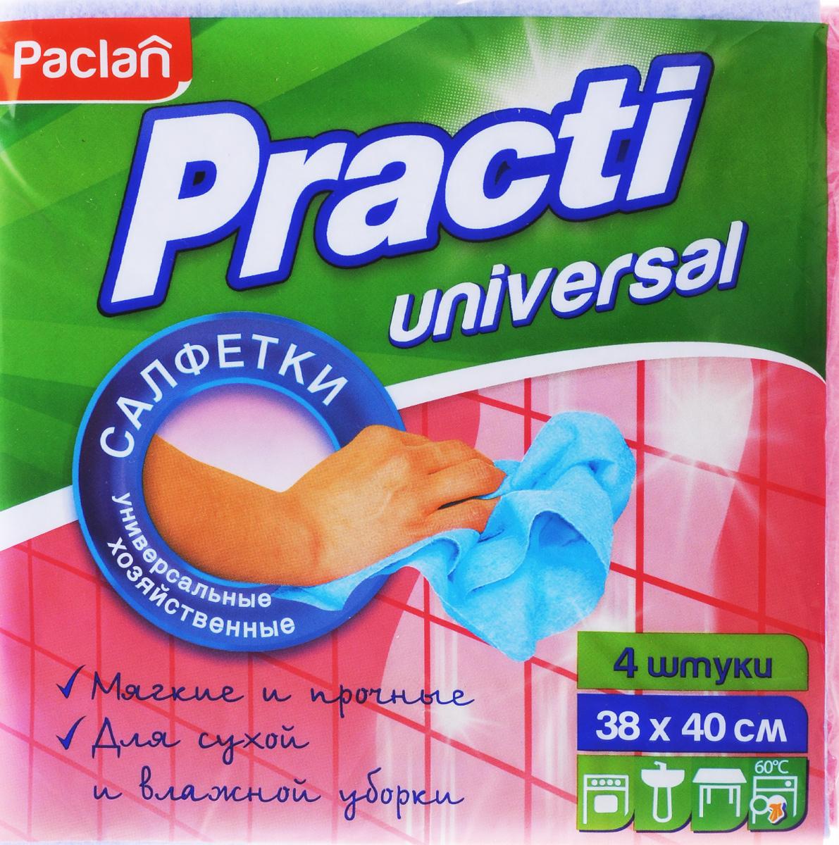 Набор универсальных салфеток для уборки Paclan Practi, 38 х 40 см, 4 шт цена