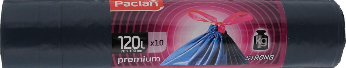 Мешки для мусора Paclan Premium, с завязками, 120 л, 10 шт мешки для мусора paclan economy с завязками 35 л 20 шт