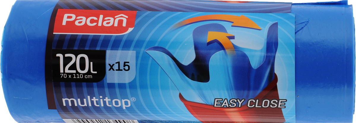 Мешки для мусора Paclan Multitop, 120 л, 15 шт мешки для мусора paclan beesmart 120 л 10 шт с завязками