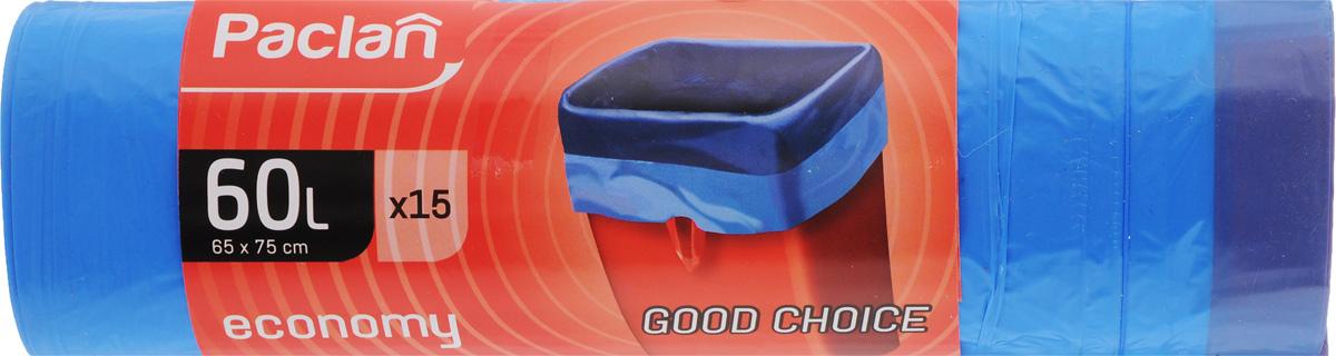 Мешки для мусора Paclan Economy, с завязками, 60 л, 15 шт мешки для мусора paclan economy с завязками 35 л 20 шт
