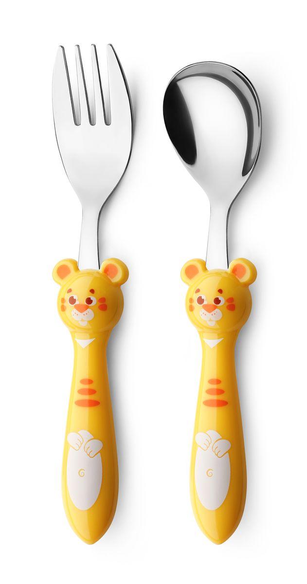 Набор детских столовых приборов Apollo Kiddy, цвет: желтый, 2 предмета набор детских столовых приборов apollo kiddy цвет фиолетовый 2 предмета