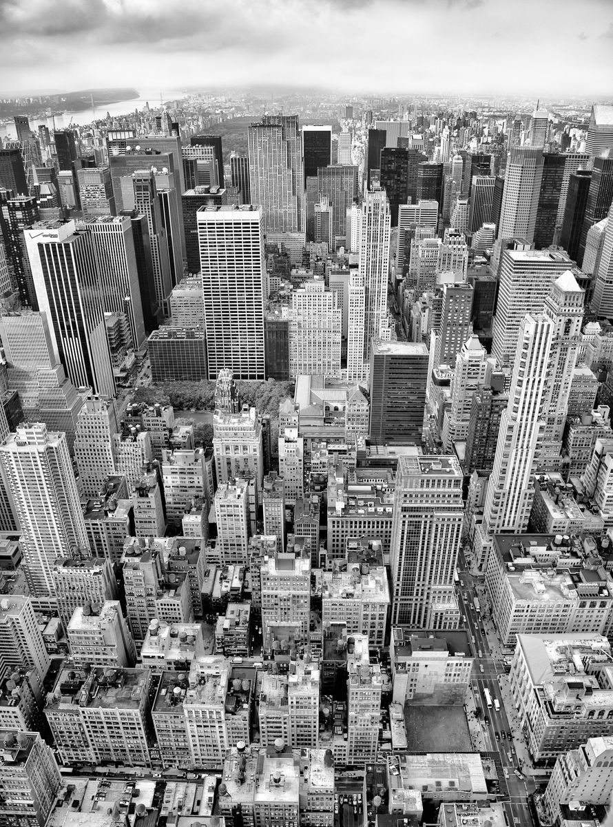 готовые черно белые фотообои с городом верхней