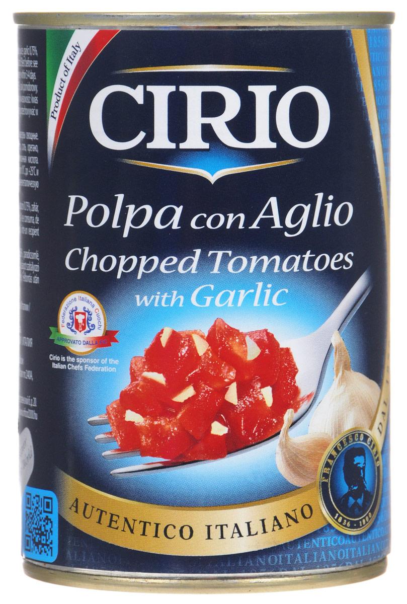 Cirio Chopped Tomatoes With Garlic томаты очищенные резаные с чесноком, 400 г vegda томаты очищенные италия 425 мл