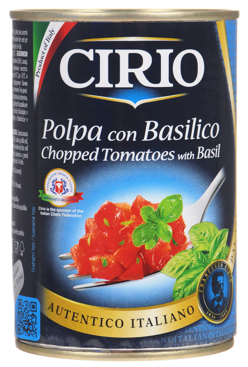 Cirio Chopped Tomatoes With Basil томаты резаные очищенные с базиликом, 400 г vegda томаты очищенные италия 425 мл