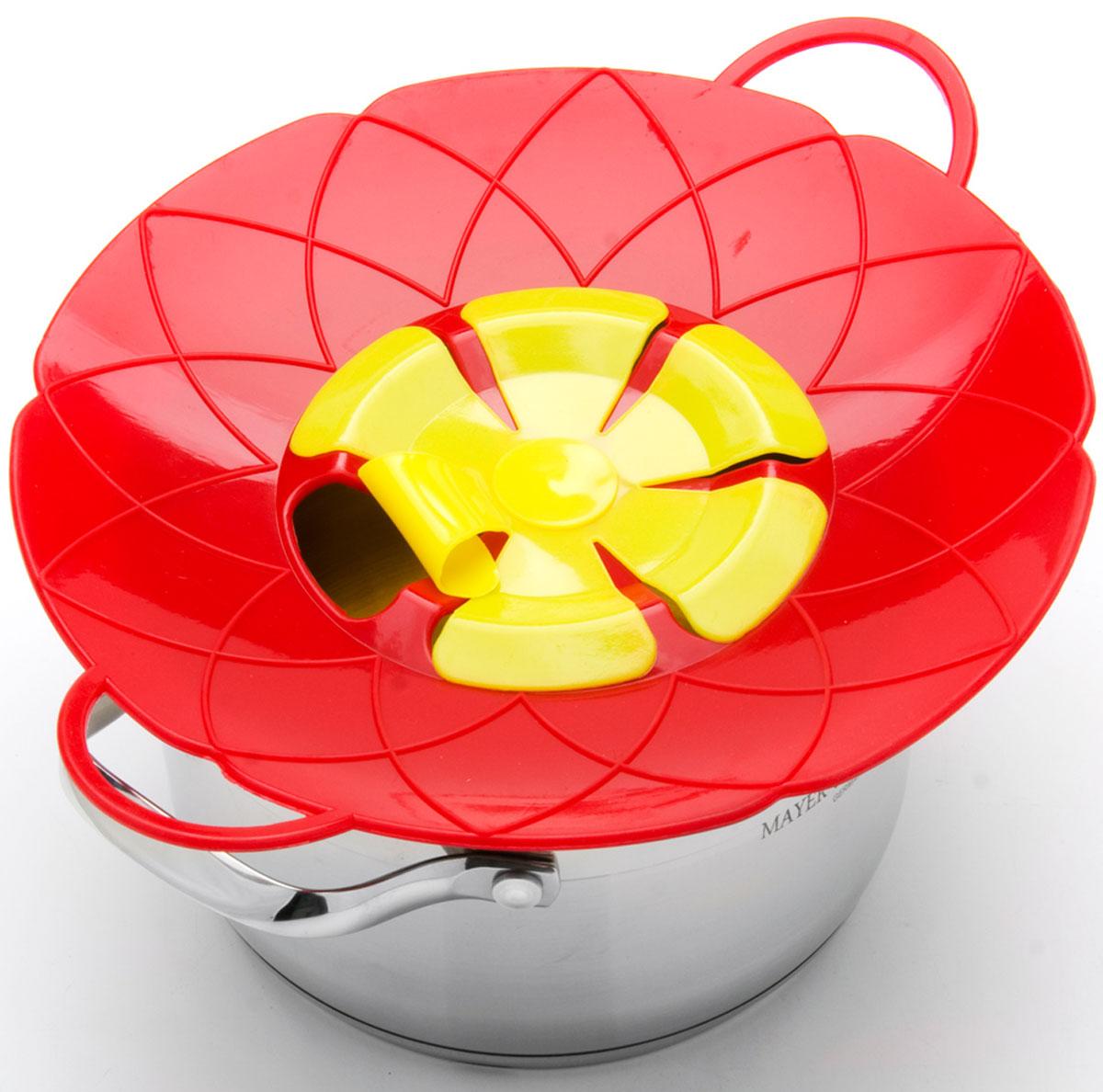 Крышка-невыкипайка Mayer & Boch, цвет: красный, желтый, диаметр 25 см крышка невыкипайка mayer