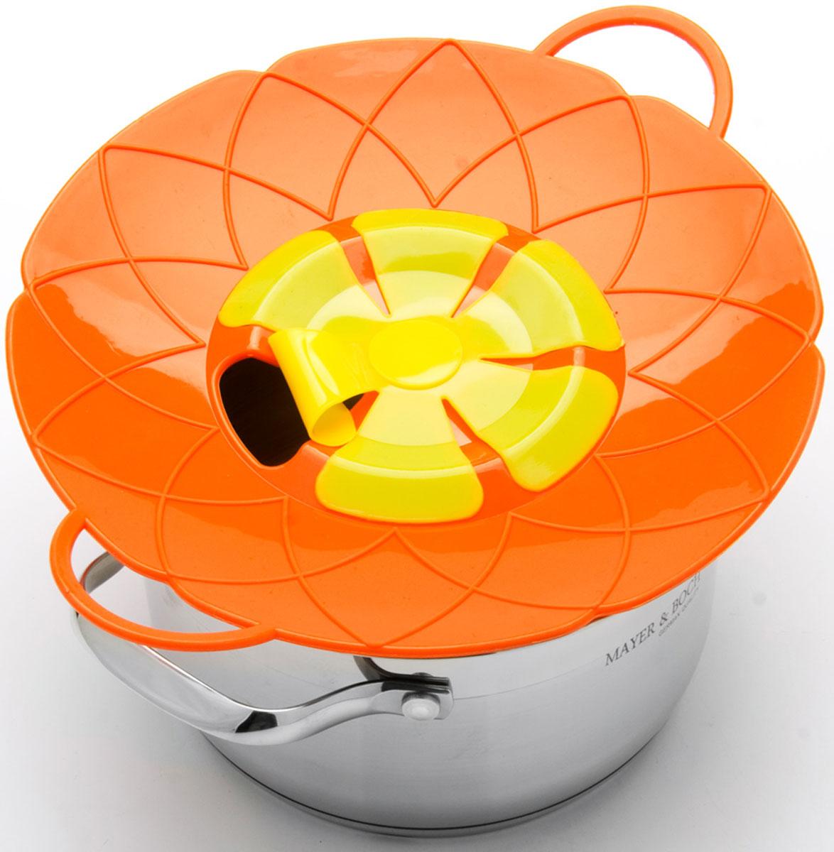 Крышка-невыкипайка Mayer & Boch, цвет: оранжевый, желтый, диаметр 25 см крышка невыкипайка mayer