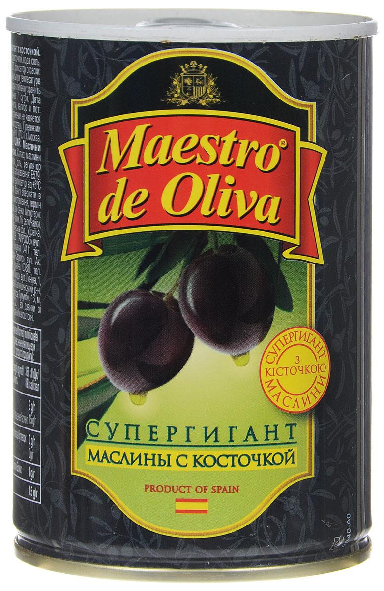 Maestro de Oliva маслины супергигант с косточкой, 425 г цена