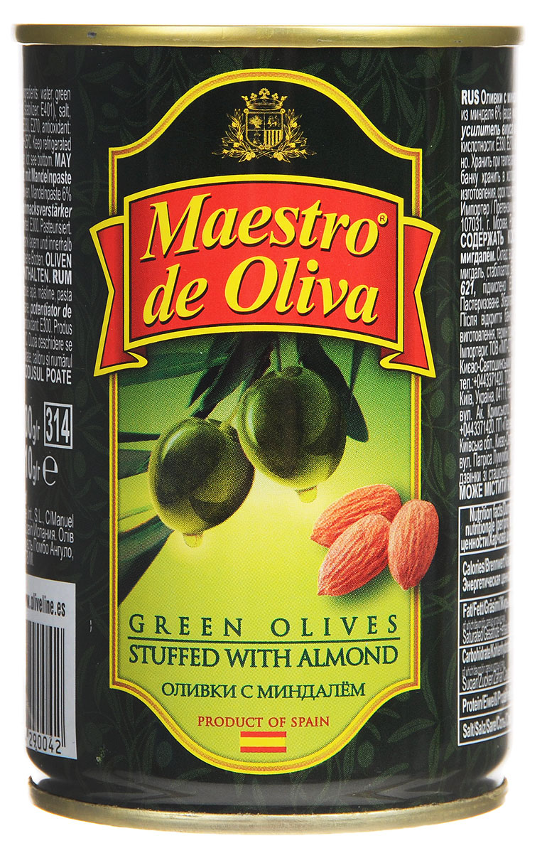 Maestro de Oliva оливки с миндалем, 300 г цена