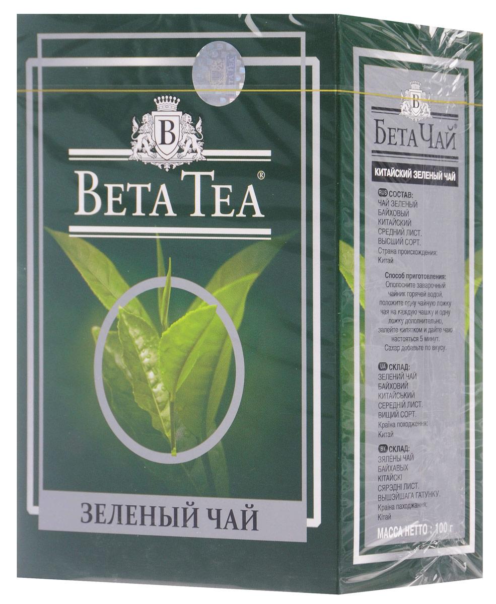Beta Tea зеленый листовой чай, 100 г beta tea де люкс крупнолистовой чай 225 г подарочная упаковка