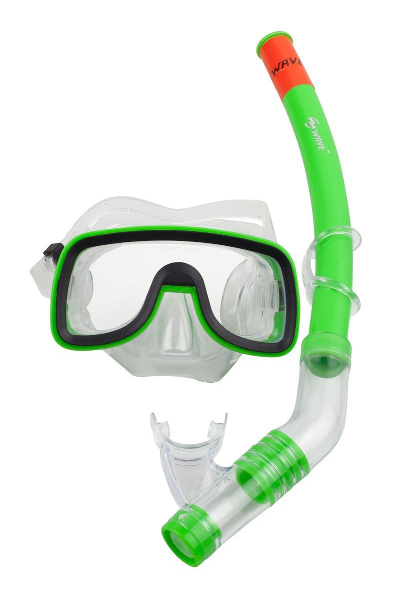 Комплект для плавания WAVE: маска, трубка, цвет: черный, зеленый. MS-1319S6 маска для плавания wave цвет черный m 1314