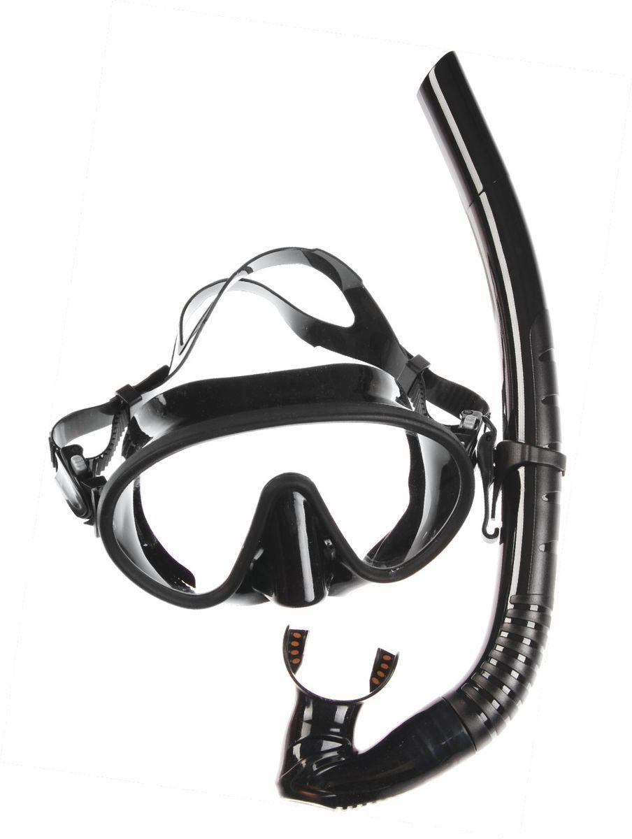 Комплект для плавания WAVE: маска, трубка, цвет: черный. MS-1328S66 маска для плавания wave цвет черный m 1314
