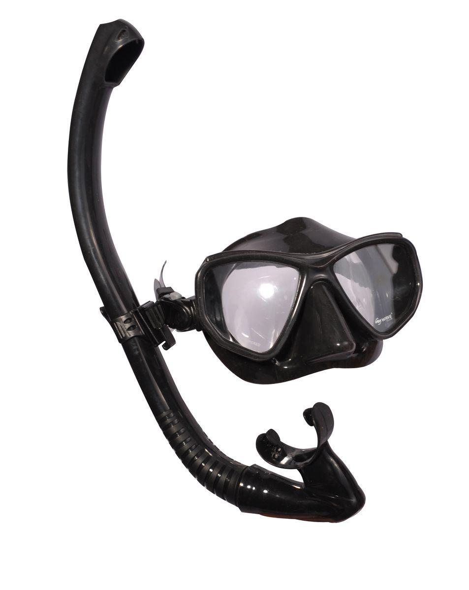 Комплект для плавания WAVE: маска, трубка, цвет: черный. MS-1383S60 маска для плавания wave цвет черный m 1314