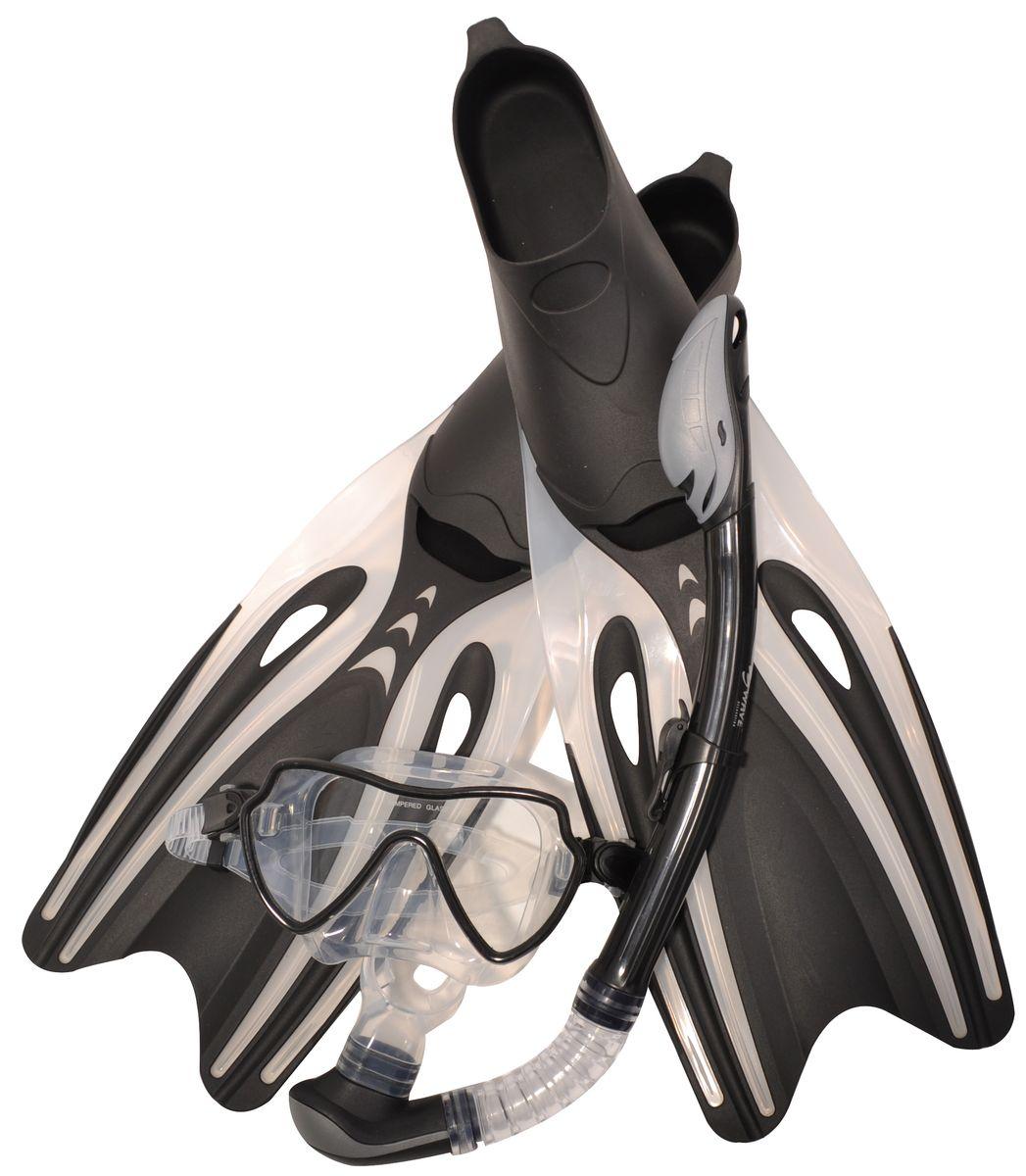 Комплект для плавания WAVE: маска, трубка, ласты, цвет: черый,серый. Размер 39-41. MSF-1390S65F69 маска для плавания wave цвет черный m 1314