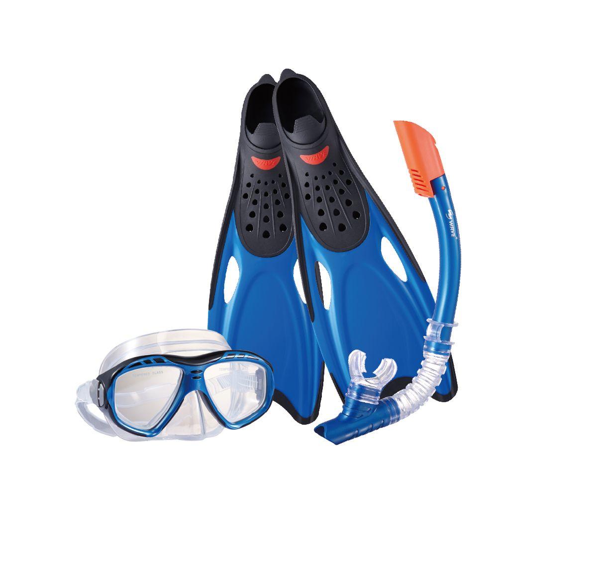 Комплект для плавания WAVE: маска, трубка, ласты, цвет: синий. Размер 40-41. MSF-1396S25BF71 ласты для плавания stingrey f37 размер 40 41