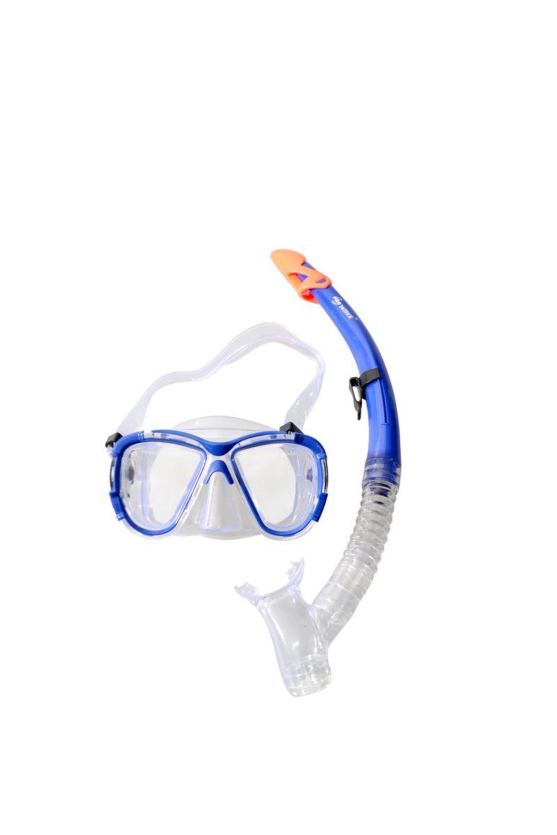 Комплект для плавания WAVE: маска, трубка, цвет: синий. MS-1311S58 маска для плавания wave цвет черный m 1314