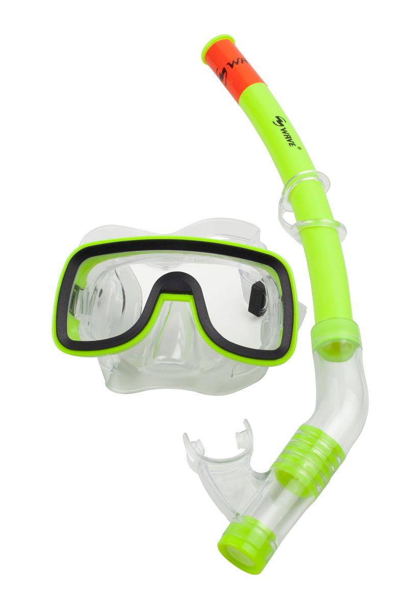 Комплект для плавания WAVE: маска, трубка, цвет: черный, салатовый. MS-1319S6 маска для плавания wave цвет черный m 1314