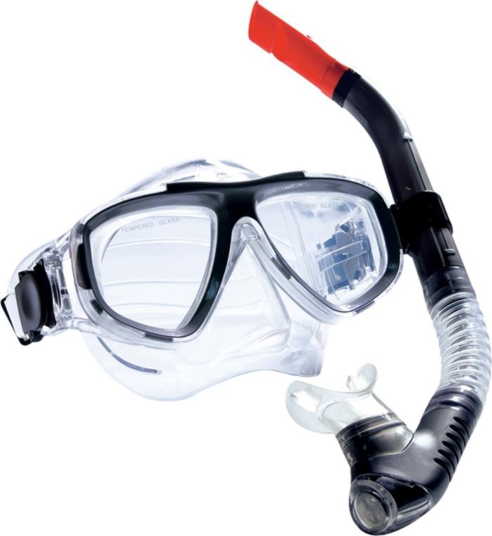 Комплект для плавания WAVE: маска, трубка, цвет: черный. MS-1359S40 маска для плавания wave цвет черный m 1314