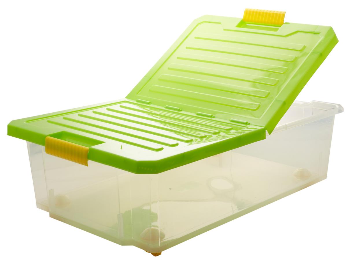 Ящик для хранения BranQ Unibox, на колесиках, цвет: зеленый, прозрачный, 30 л ящик для хранения branq optima на колесиках цвет синий прозрачный 57 л
