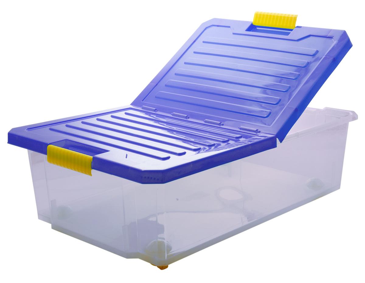 Ящик для хранения BranQ Unibox, на колесиках, цвет: синий, прозрачный, 30 л ящик для хранения branq optima на колесиках цвет синий прозрачный 57 л