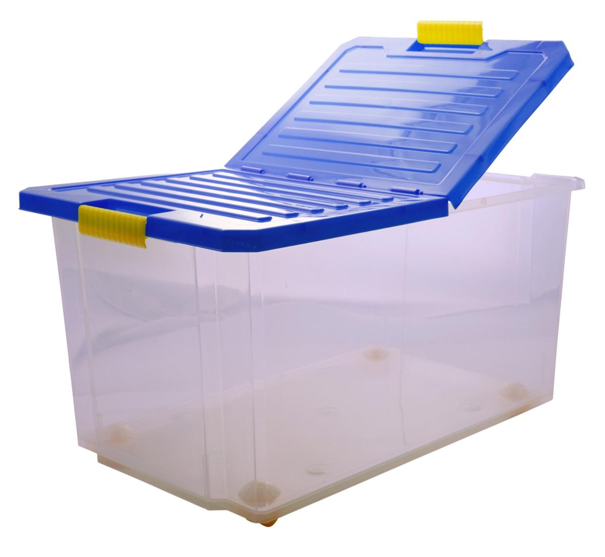 Ящик для хранения BranQ Unibox, на колесиках, цвет: синий, прозрачный, 57 л ящик для хранения branq optima на колесиках цвет синий прозрачный 57 л